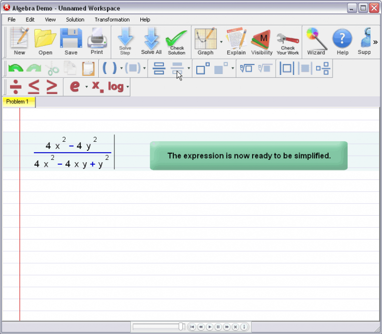 picture 5 for demo on Entering Rational Expressions