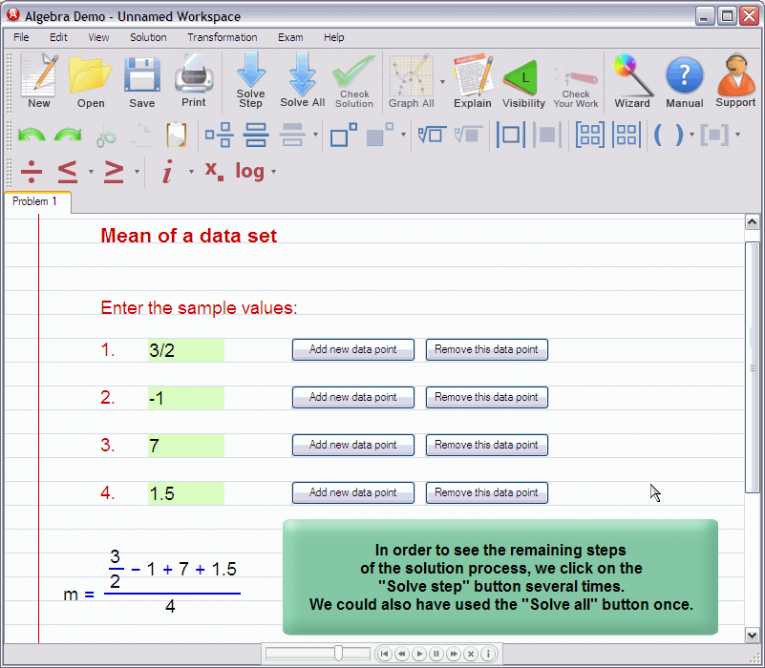 picture 5 for demo on Mean of a data set