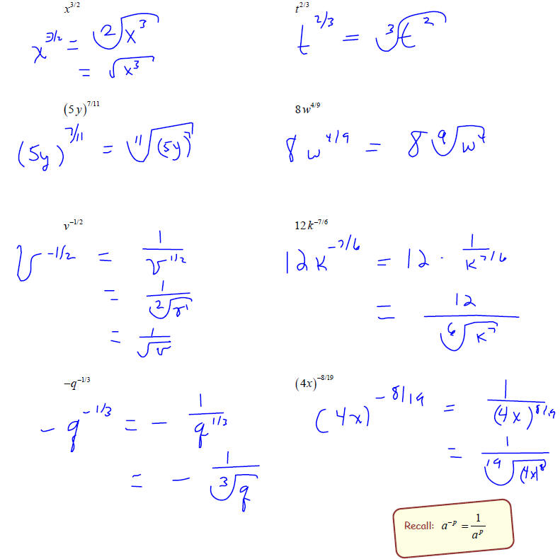 Rational Exponents Rational exponents