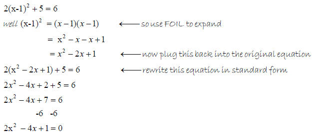 how to put a quadratic into standard form