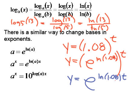Exponential and logarithmic equations this gives the formula usually used with log or ln sciox Choice Image
