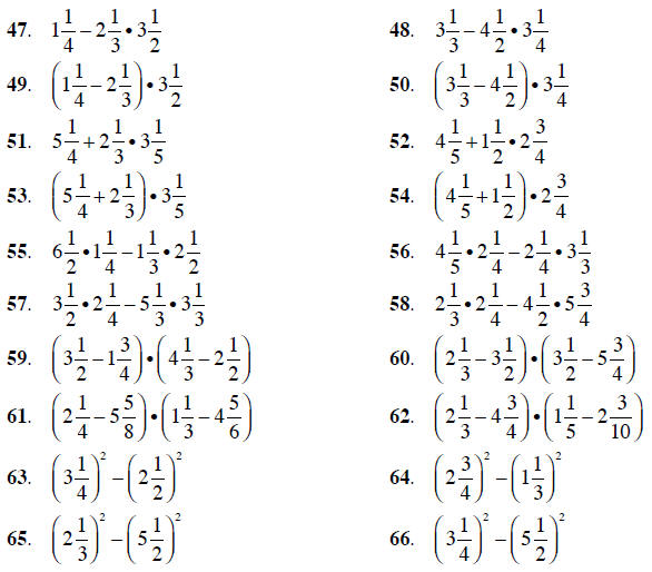 exponents and order of operations;complex fractions