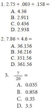 arithmetic test